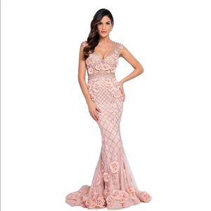 Terani Couture Sleeveless Flower Beaded dress